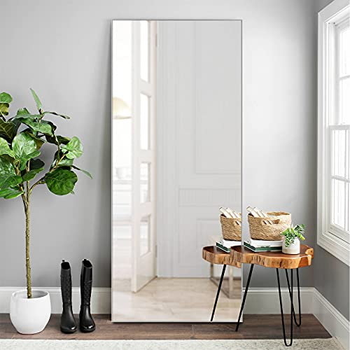 """NeuType Full Length Mirror Floor Mirror Dressing Mirror Home Gym Mirror,Large Wall Mirror Bathroom Mirror Standing Mirror,Long Mirrors for Bedroom,Aluminum Alloy Metal Frame,Silver,71""""x32"""",No Stand"""
