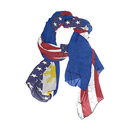 Filipino American Flag Women Lightweight Silk Scarf Fashion Print Shawl Head Wraps