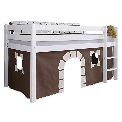 Relita Halbhohes Spielbett Alex mit Stoffset Vorhang Buche massiv, weiß lackiert