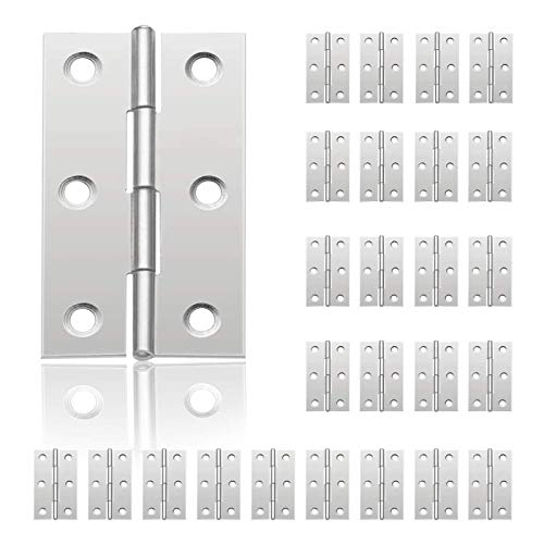 tEEZErshop 24 Cerniere per porte in acciaio inox con 6 fori di montaggio,Cerniere per Porta per Armadio Porta mobili Angolo Piegato Cerniera