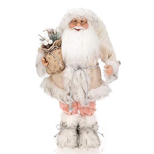 ARCCI Collection 18 Inch Santa Claus Christmas Figurine, Burlap Fabric Standing Santa Figure Holiday Decoration