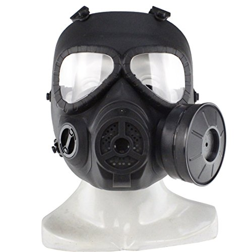 PeleusTech WST Head Mask Full Face Single Canister Electric Ventilative Biochemical Gas Mask[No Actual Anti-Virus Function] Toys Masks for Children, Cosplay,Halloween and Party - (Black)