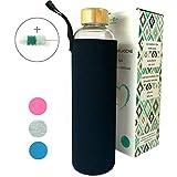 Wenburg Trinkflasche/Glasflasche mit Bambus-Deckel Wolton 0,75l Neopren Hülle. Sportflasche/Wasserflasche aus Glas. Für Unterwegs (schwarz, 1l)