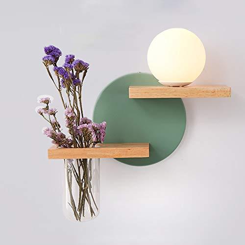 Nordic ijzeren muur lampen, Creative ronde glazen Lighting Planken Decoration Reading Light Opknoping Lamp Europese Living Room Cafe Eettafel wandkandelaar (Color : Green)