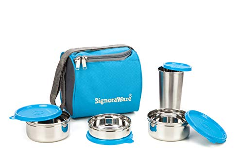 Signoraware Best Stainless Steel Lunch Box, Blue (500 Ml+350 Ml+200 Ml) | with Steel Tumbler 370 Ml