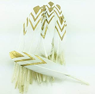 Colorful Gold Dipped Feather in Bulk for Craft Party Decoration Goose Feathers 20pcs/pack/ (white&gold)