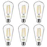 Dimmable Vintage LED Edison Bulbs 60 Watt Equivalent, Eye Protection Led Bulb with 95+ CRI, Warm White 2700K, ST58 Antique LED Filament Bulbs, E26 Medium Base, Pack of 6