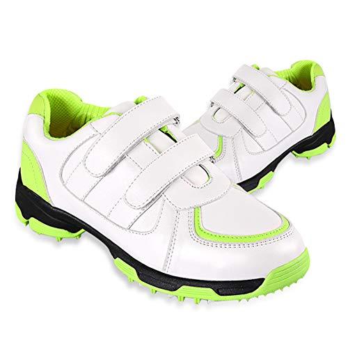 GRASSAIR Golfschuhe für Kinder wasserdichte atmungsaktive Sportschuhe Bedruckte verschleißfeste rutschfeste Turnschuhe für Jungen und Mädchen,Grün,32