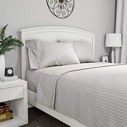 Bedford Home - Juego de sábanas de Microfibra cepillada a Rayas, 4 Piezas, hipoalergénicas con sábana Bajera y 2 Fundas de Almohada, Gris, Doble, 1