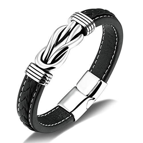 AYDOME Stainless Steel Bracelets for Men Knot Shaped Leather Adult Friendship Bracelets Black