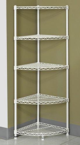 Muscle Rack WSCR141447 5-Shelf Steel Wire Corner Shelving Unit, 14' Width, 47' Height, 14' Depth , White