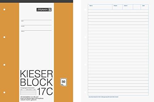 Brunnen 1042927 KIESER-Block Lineatur 21 (A4, 50 Blatt, liniert, 80 g/m², gelocht)