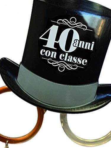 Gafas Party 40 años – Gafas cilíndricas cuarenta años – Gadget gracioso para el cuarto cumpleaños