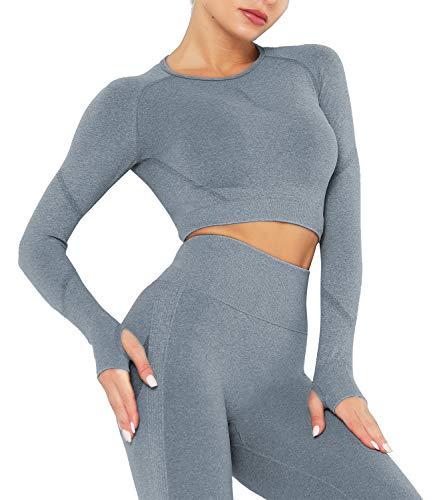 DUROFIT Abbigliamento per Allenamento da Donna Yoga Top Corto a Maniche Lunghe per Palestra Maglietta Sportivi Camicie a Manica Lunga Corto T-Shirt Allenamento Fitness