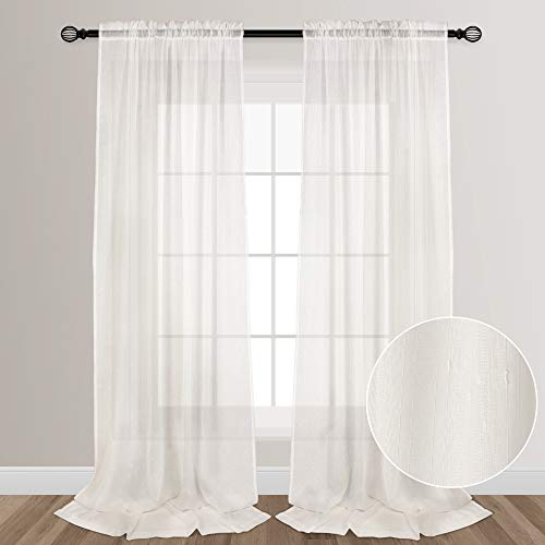VOILYBIRD Ivory Sheers Extra Long See Through Sheer Curtains for Living Room Bedroom Lightweight Rainy Style Rod Pocket at Top, 52-inch by 108-inch, 2 Panels