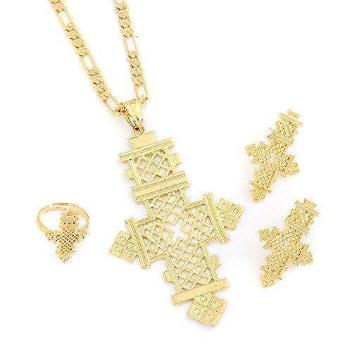 BR Gold Jewelry Äthiopischer Schmuck Anhänger Halskette Ohrringe Ring Set vergoldet Koptische Kreuze Afrika Kreuz