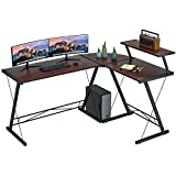 Extra Large L Shaped Desk L Desk Gaming Computer Corner Desk with Round Corner with Monitor Stand for Gaming Desk Home Office Writing Workstation, Walnut