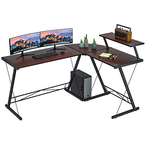 Coleshome Reversible L Shaped Desk 60.8' Home Office Desk with Round Corner Computer Desk with Large Monitor Stand, PC Table Workstation, Walnut