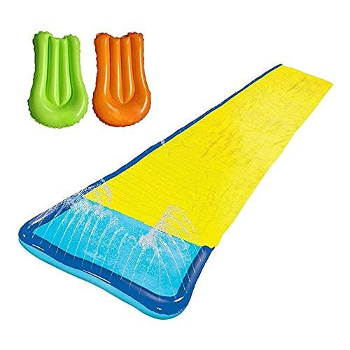 MWXFYWW Einzelrutsche für Kinder -Rasenwasserrutschen mit Sprinkler und Aufblasbarem Crash-Splash-Pad, Wasserrutschbahn mit 2 Bodyboards, Wassersport-Wasserrutsche für Erwachsene Garten Rasen