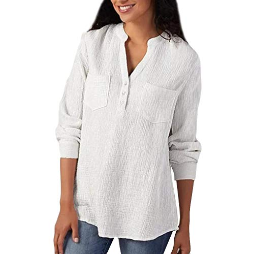 Find Discount Toimothcn Women Button Down Shirts Cotton V-Neck Long Sleeve Plus Size Henly Bloues T ...