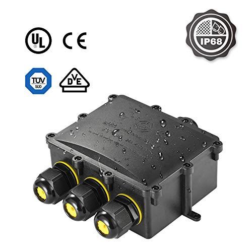 Abzweigodse IP68 Verteilerdose Wasserdichte Kabelverbinder, Kohree Klemmdose für Außen Größere 4-Wege-Verbindungsdose für Ø4mm-14mm Kabeldurchmesser M25 Kabelverschraubung, PC + PVC