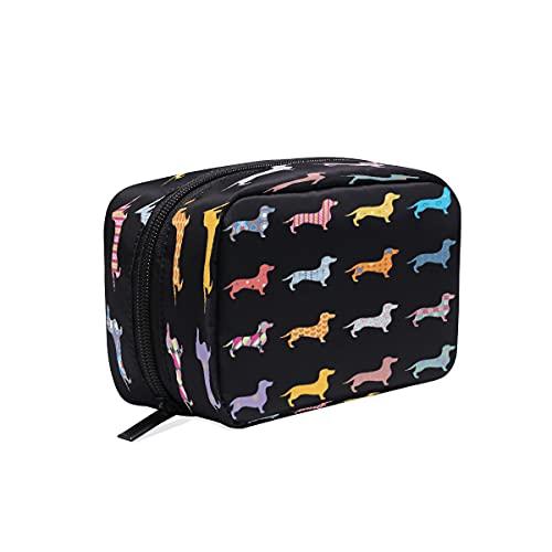BOLOL Dachshund - Bolsa de maquillaje para cachorros y perros, bolsa de cosméticos para artículos de tocador, bolsa de viaje grande para mujeres y niñas, organizador portátil, bolsa de almacenamiento