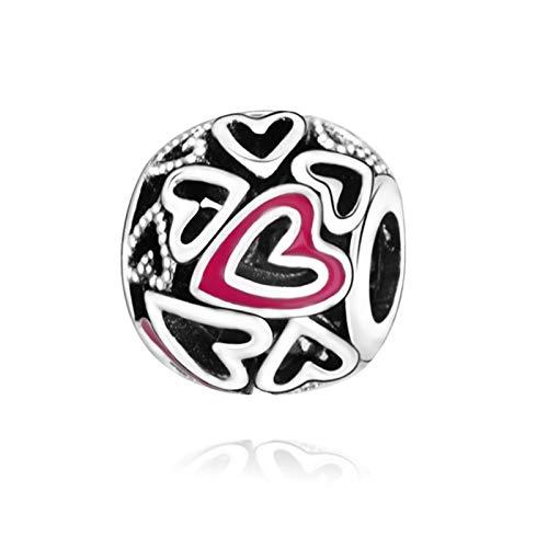 LILANG Pandora 925 Pulsera de joyería Cuentas de Plata de Ley Natural Rosa Calado Mano corazón Encanto Apto para Mujeres Originales Regalo DIY