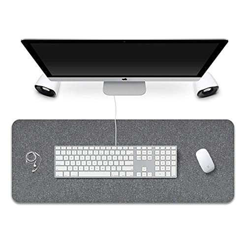 FireBee Extended Gaming Mouse Pad Non-Slip Desk Pad Protector Office Writing Mat Felt Base 0.12 Inch Thick (Gray)