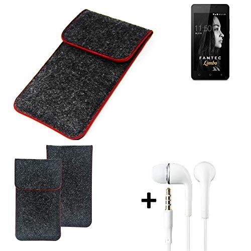 K-S-Trade Handy Schutz Hülle Für FANTEC Limbo Schutzhülle Handyhülle Filztasche Pouch Tasche Hülle Sleeve Filzhülle Dunkelgrau Roter Rand + Kopfhörer
