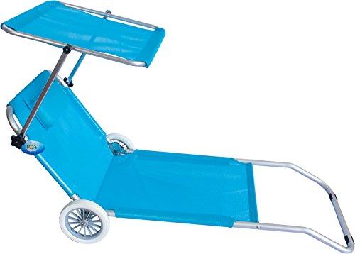 Joy Summer Spiaggina Con Ruote Trolley Sedia Sdraio Con Posizione Mare Spiaggia Piscina Azzurro