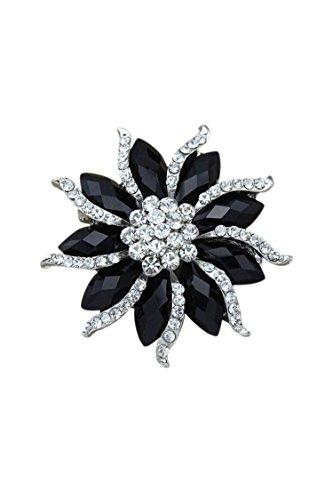 Didad Broche de Flor de floracion de Mujer Alfiler de Diamante de Imitacion de Cristal Negro