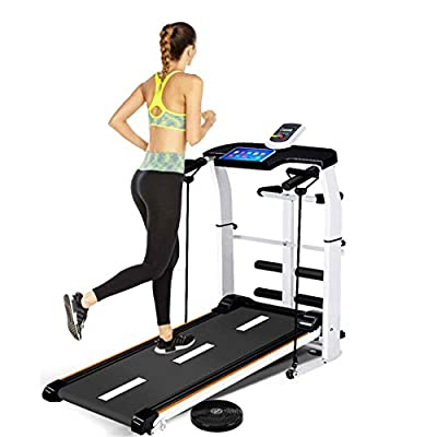 Multifunction Folding Shock Running, Supine, T-wisting, Draw Rope 4-in-1 Mechanical Treadmill Suitable for All Ages