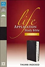 NIV, Life Application Study Bible, Second Edition, Large Print, Bonded Leather, Black, Red Letter Edition, Thumb Indexed
