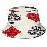 TTLUCKY Sombrero de Pesca,Decoraciones Torneo Póquer Marco Barroco Símbolos Apuesta Adorno Antiguo Vintage,Senderismo para Hombres y Mujeres al Aire Libre Sombrero de Cubo Sombrero para el Sol