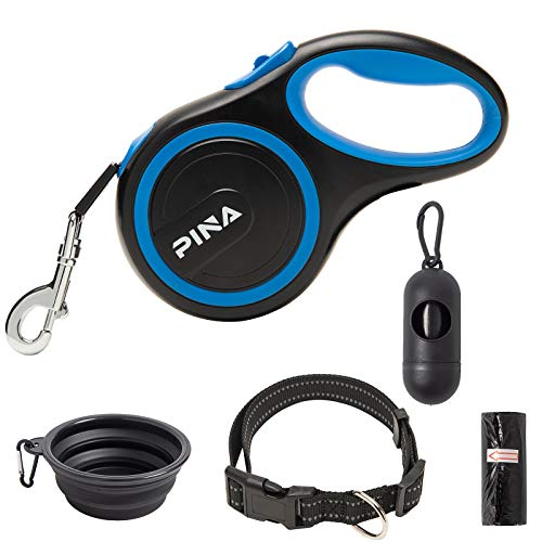 PINA Retractable Dog Leash, 26ft Dog Leash for Small Medium Large Dogs Up to 110lbs, 360° Tangle-Free Strong Reflective Nylon Tape, with Anti-Slip Handle, One-Handed Brake, Pause, Lock - Black Blue