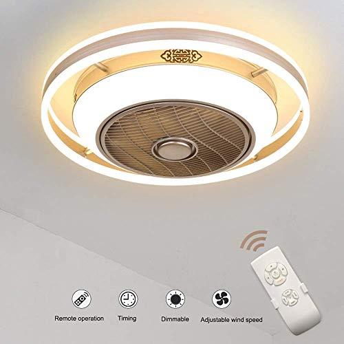 PNYGJXDD ventilator, onzichtbare led, plafondlamp, kroonluchter voor ventilator, zeer stil, afstandsbediening, woonkamer, moderne slaapkamer, plafondventilator voor kinderkamer Vierkant