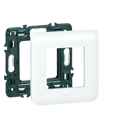 Legrand 099675 Mosaic Plaque Support pour 2 Modules Fixation à vis, Blanc