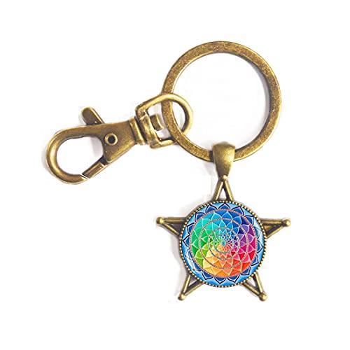 Llavero de flor de la vida – Llavero de geometría sagrada – Llavero espiritual-sagrada geometría joyería-círculo