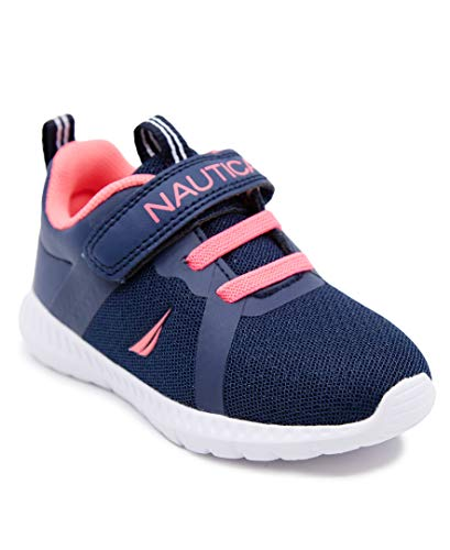 Nautica Kids Boys Girls Fashion Sneaker Athletic Running Shoe with Stap for Toddler and Little Kids-Jurnee Toddler-Navy Pink-5