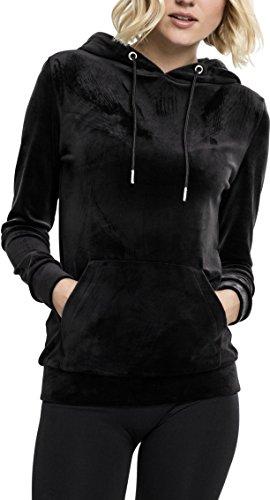 Urban Classics Ladies Velvet Hoodie, Samt weicher Velour Kapuzenpullover für Damen, Kapuzensweater - black, Größe M