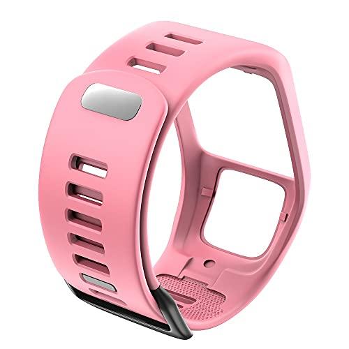LIANYG Correa De Reloj Reloj de Pulsera de Pulsera de Silicona Strap Strap Sport Watch 493 (Band Color : Pink)
