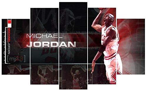 QWASD Michael Jordan Baloncesto Cuadros En Lienzo Pintura 5 Paneles Cuadro Moderno para Niños Habitación Decoración para El Hogar 150Cm×80Cm,con Marco