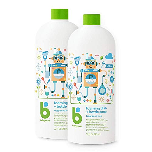Babyganics Foaming Dish & Bottle Soap , Fragrance Free, 32oz, 2 Pack, Packaging May Vary