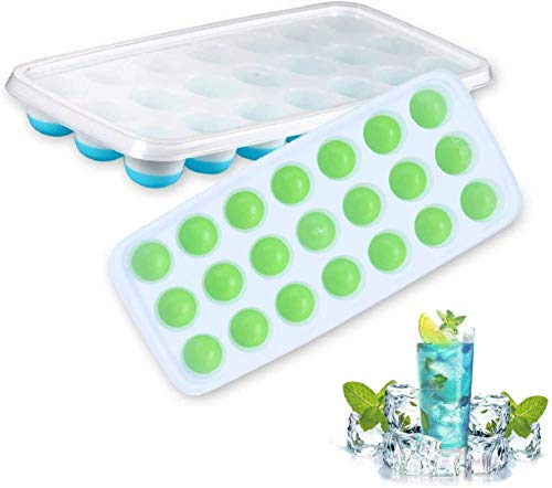 Silicone Ice Cube Trays, 2PCS Ice Cube Moulds with Spill-Resistant Removable Lids, LFGB Certified, Dishwasher Safe, Best Ice Trays for Freezer, Whiskey, Cocktail