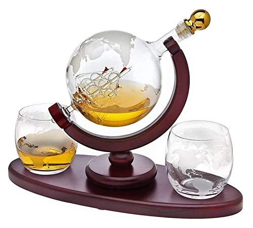 SYZHIWUJIA Whisky Decanter Globe Set con 2 Bicchieri di Whisky Globo inciso - per liquori, Scotch, Bourbon, Vodka - 850ml Decanter
