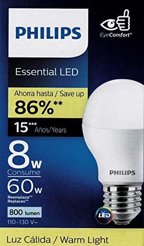 Philips Foco Led Lampara Ahorrador Paquete 6 Piezas Luz Calida consume 8w ilumina 60w Interior Exterior Casa Jardin Patio Terraza