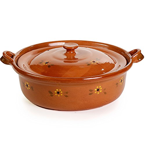 Ancient Cookware Mexican Flat Clay Cazuela, 4 qt