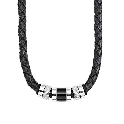 S.Oliver Herren Kette Männerkette Edelstahl Beads Leder geflochten 45+3 cm schwarz