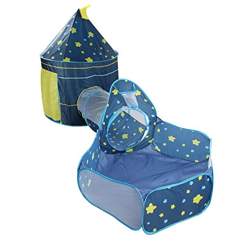 Pokerty9 Túnel de Arrastre para niños de Piscina de Bolas 3pcs, Tienda de Juegos, Interior para niños pequeños(Blue Three-Piece Suit)