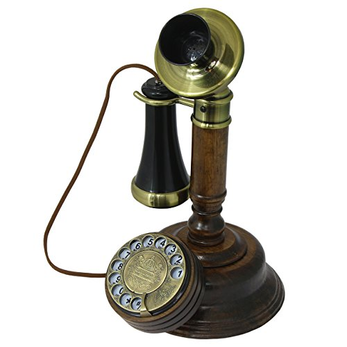 OPIS 1921 CABLE - MODEL C - vintage phone/retro telephone made from real wood, classic black plastic parts partially gilded with brass - functional rotary dial and classic metal bell